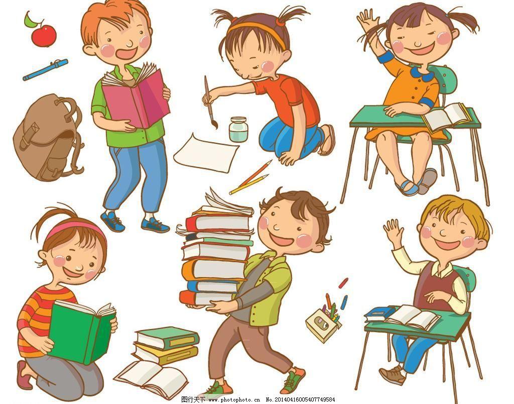 手绘 上学 学习 男孩 漫画 孩子 可爱 女孩 玩耍 漫画儿童 幼儿园