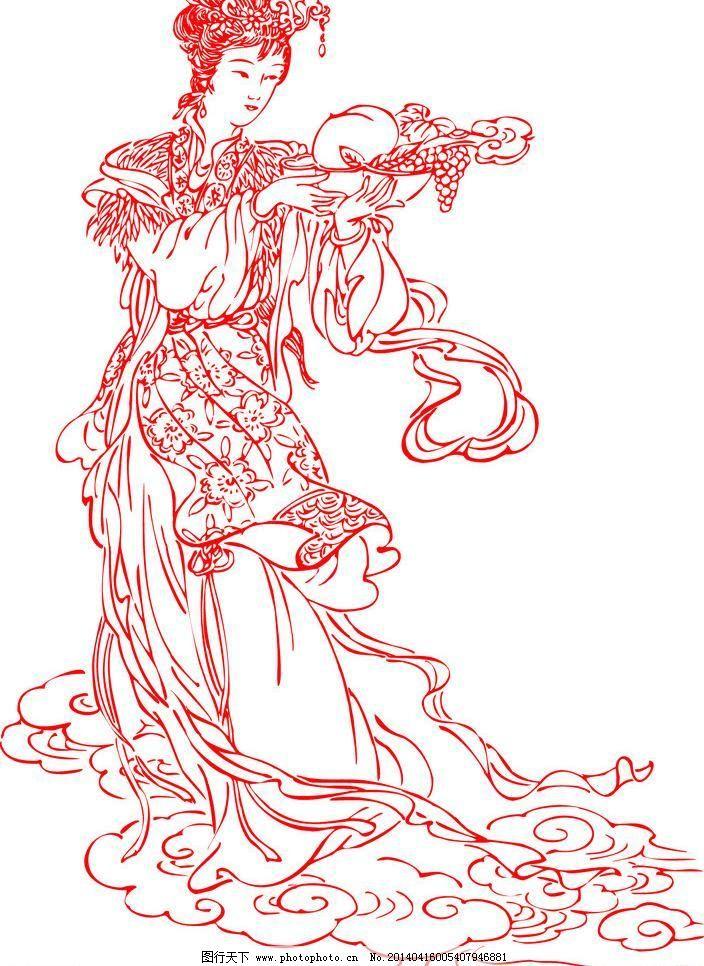 手绘古装白衣仙女铅笔