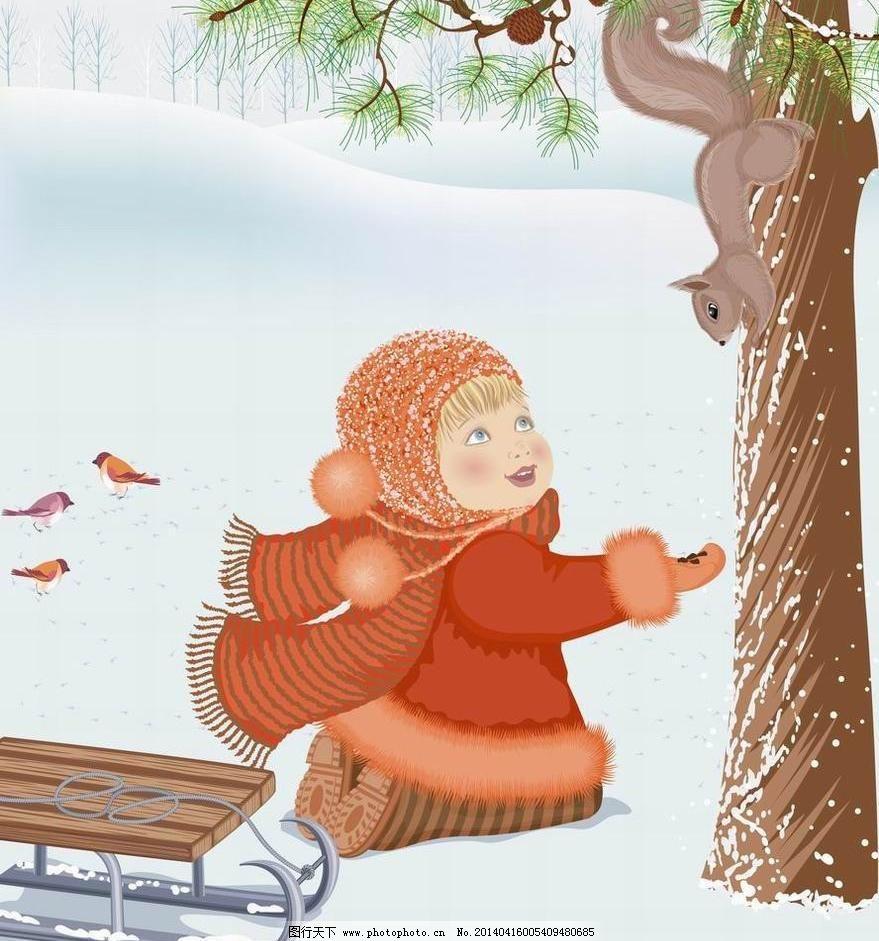 背景 大树 冬季雪景 儿童 儿童幼儿 儿童主题 风景 梦幻 冬季小女孩