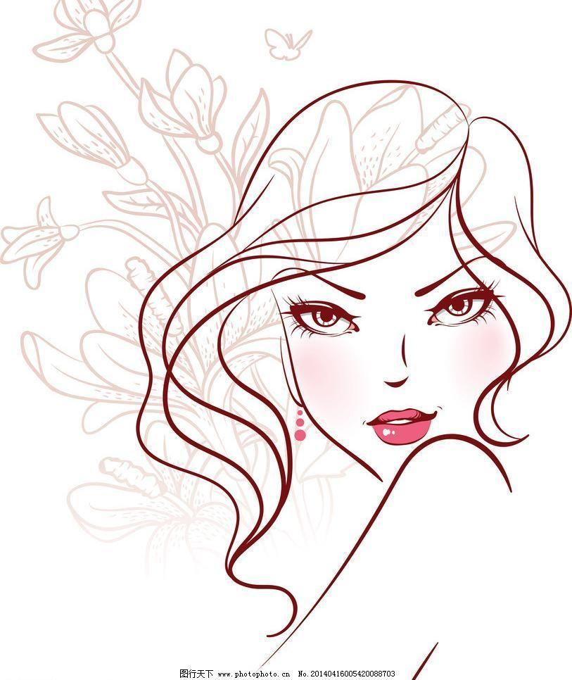女孩 女人 少女 美丽 浪漫 线描 头发 发型 长发 性感 时尚 女性 女子