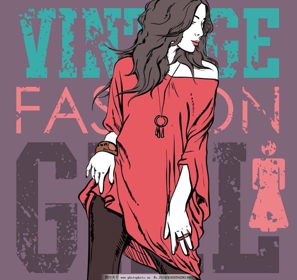 潮流 动感 动漫人物 服装 服装模特 妇女女性 购物 时尚女人动漫人物