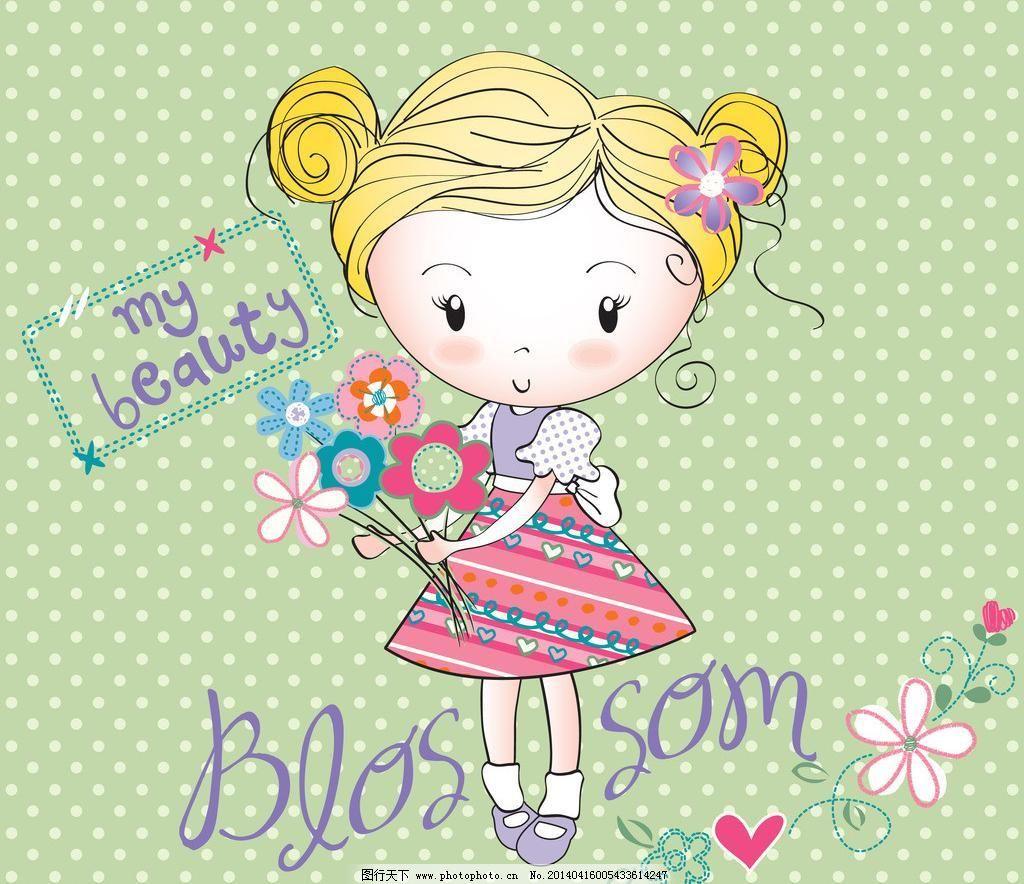 eps 儿童 服装设计 妇女女性 浪漫 美丽 美女 美少女 女孩 女人 手绘
