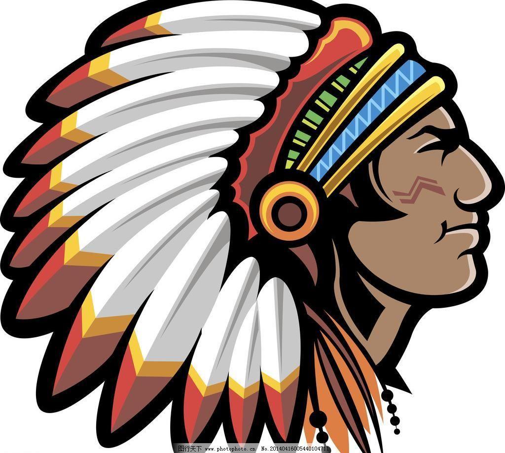 eps 帽子 其他人物 矢量人物 手绘 羽毛 印第安人矢量素材 印第安人模