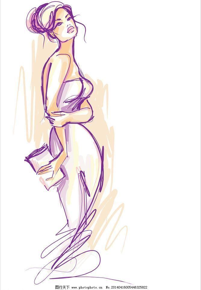 美女 裙子 手绘 插画