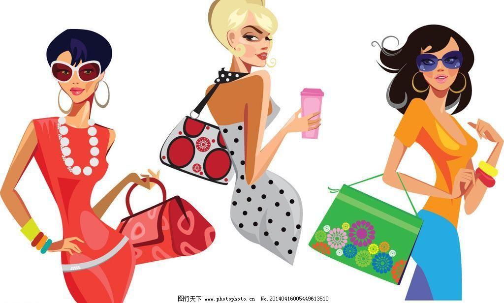 手绘少女模板下载 手绘少女 女孩 女人 时尚 少女 时髦 购物 逛街