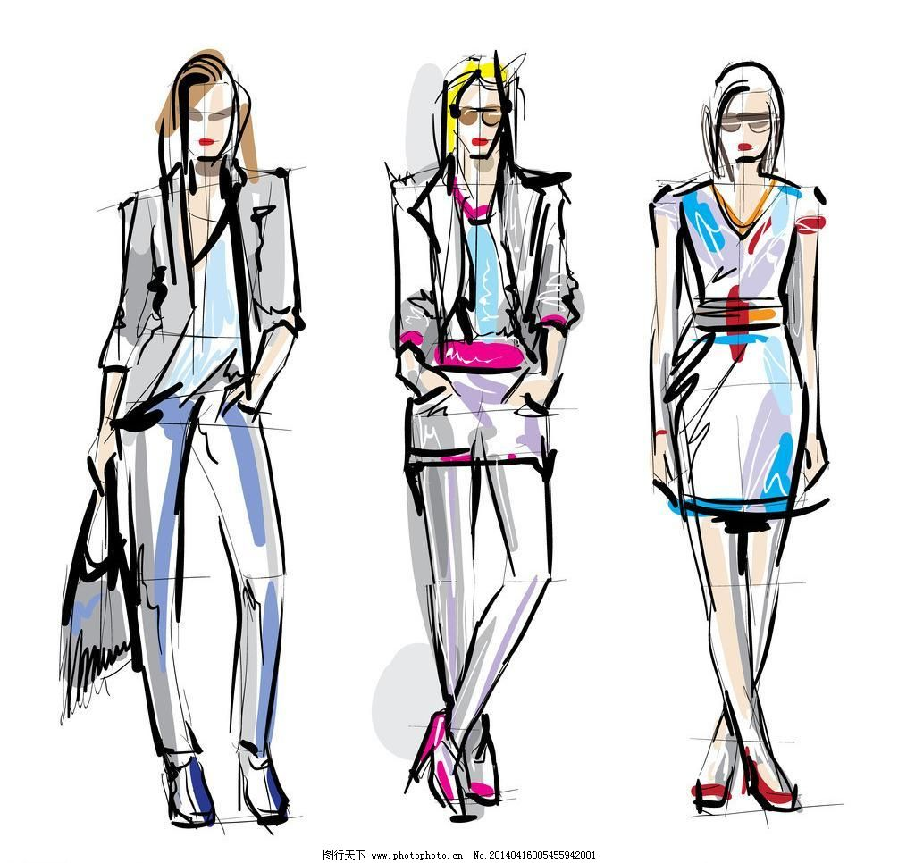 卡通服装图片女孩手绘