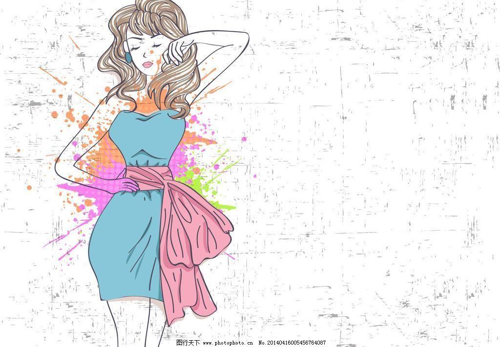 手绘少女模板下载 手绘少女 女孩 女人 时尚 少女 时髦 水彩 泼墨