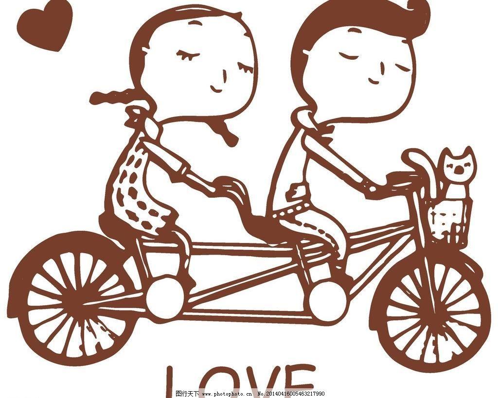 情侣自行车图片