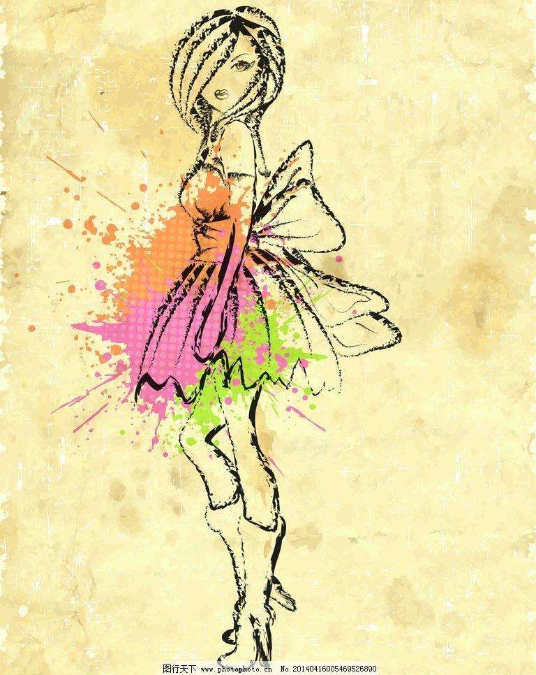 手绘水彩美女图片
