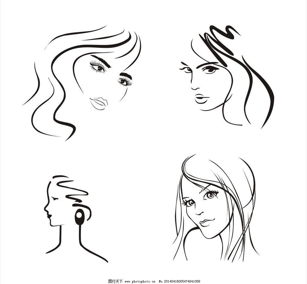 美女 头像 头发 侧脸 侧面 妇女女性 黑白 矢量人物 线条 头发矢量图片