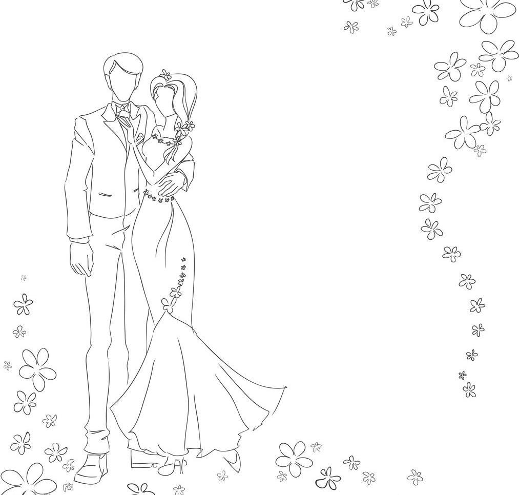 eps 服装设计 妇女女性 婚礼 婚庆 婚纱 浪漫 美丽 美女 美少女 手绘
