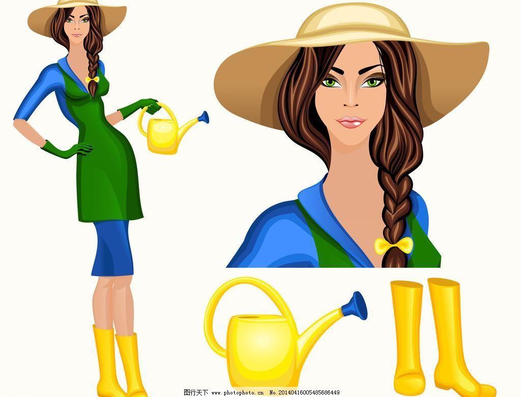 美女 时尚 都市少女 职业女性 少女 美丽 浪漫 手绘 女性 女子 裙子