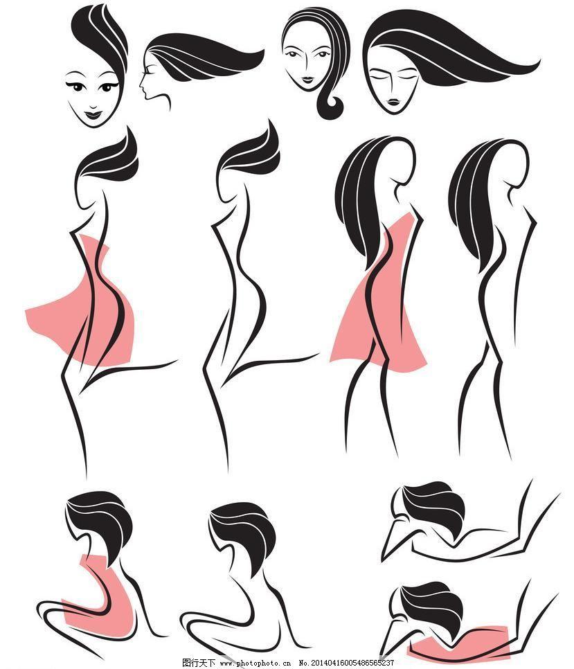 手绘女性模板下载 手绘女性 手绘少女 女人 少女 创意 线条 都市时尚