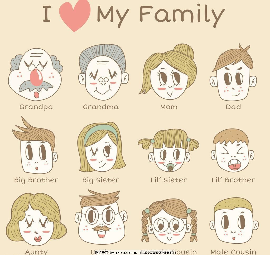 卡通人物模板下载 卡通人物 卡通儿童 女孩      一家人 家庭 老年人