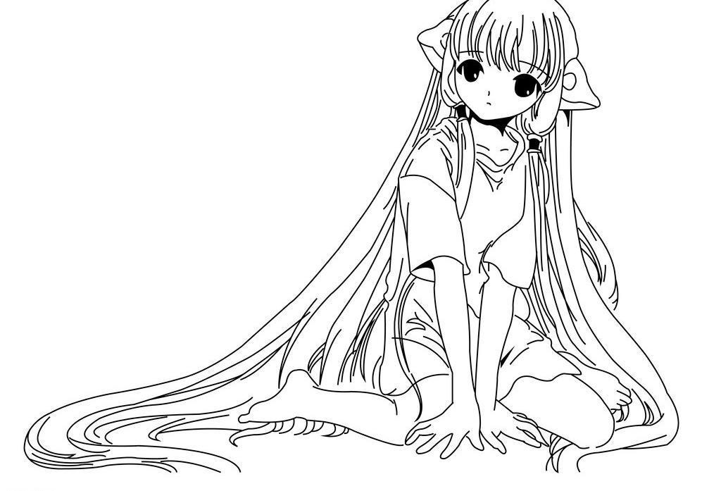 可爱长发女孩简笔画