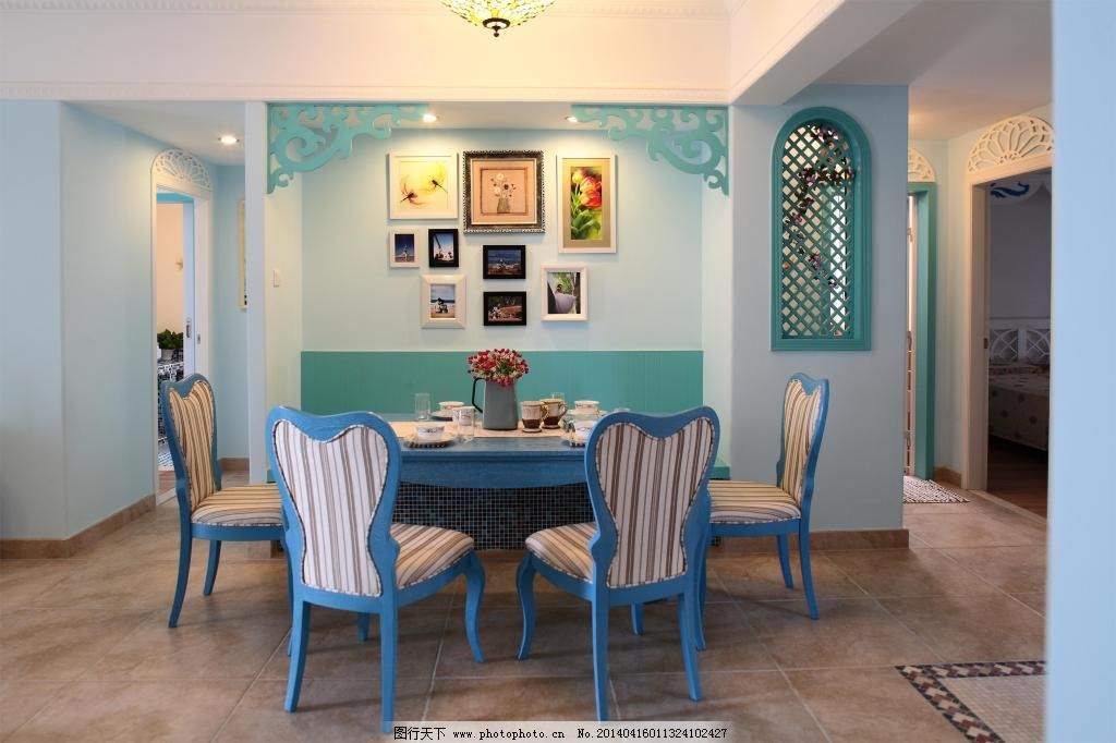 地中海餐厅设计免费下载 椅子 餐厅设计装修 家居装饰素材图片