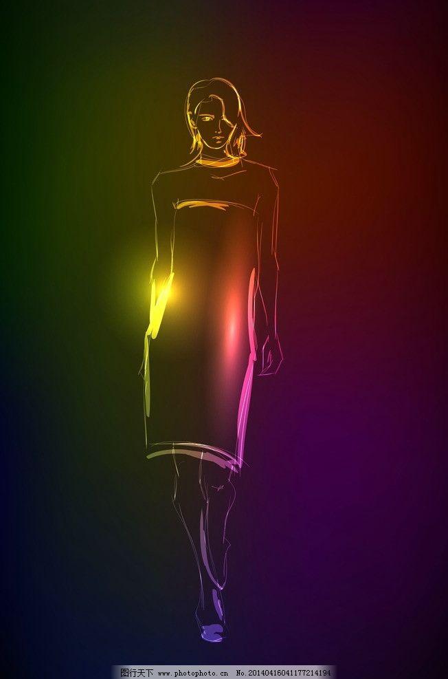 少女图片,女孩 手绘 光线 光影 霓虹灯 炫彩 时尚女人