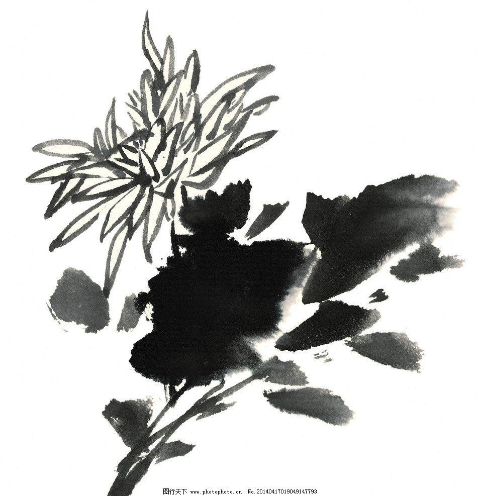 水墨花卉图片,国画 黑白 线描 工笔画 白描 手绘-图行