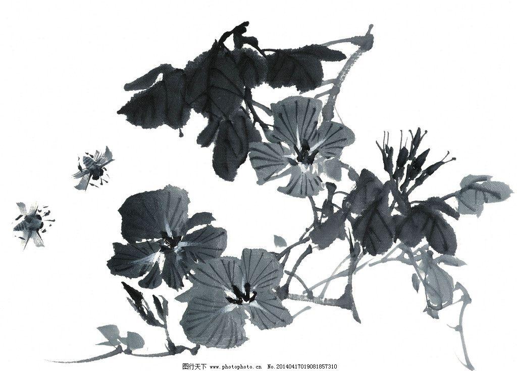 水墨花卉 国画 黑白 线描 工笔画 白描 手绘 花草 植物 素材 毛笔