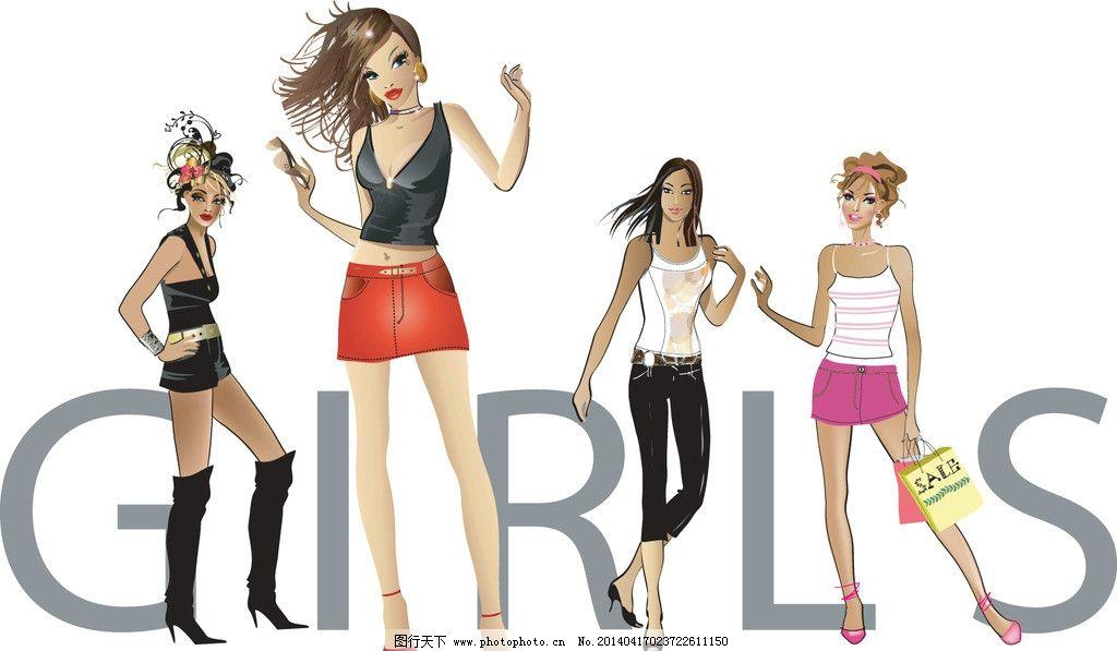 美少女 性感美女 女子 姑娘 手绘 小女孩 服装设计 美丽 浪漫 时尚