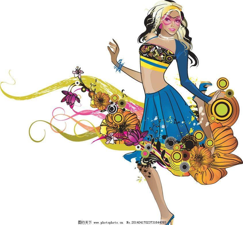 青春美少女 美少女 性感美女 女子 姑娘 手绘 小女孩 服装设计 美丽