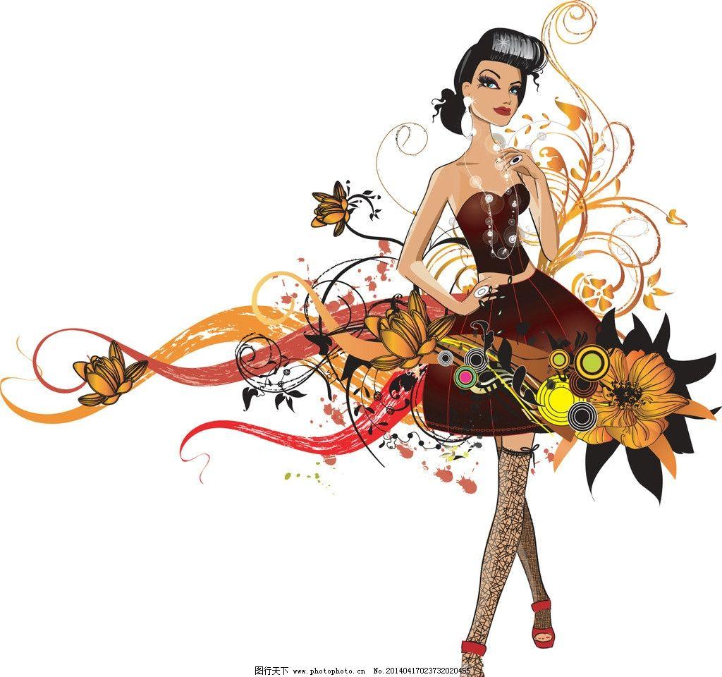 手绘少女 手稿 女孩 女人 长发 素描 花纹 剪影 时尚 时髦