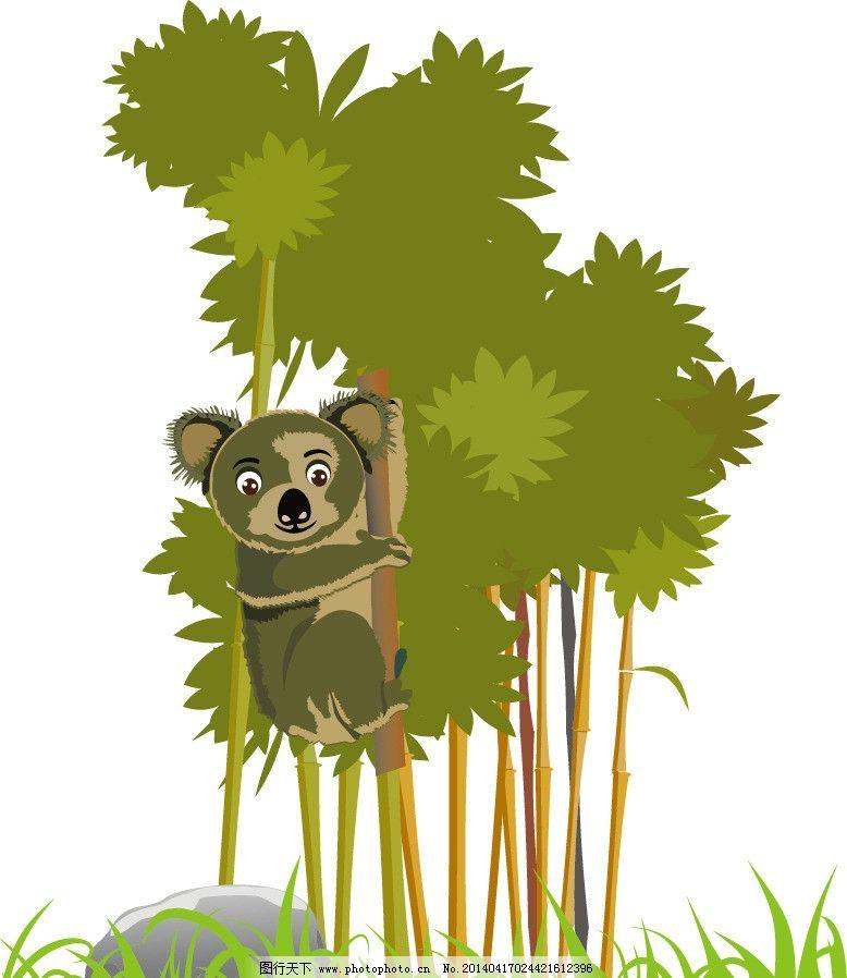 树袋熊 树 石头 小草 卡通树 卡通矢量图 野生动物 生物世界 矢量 ai