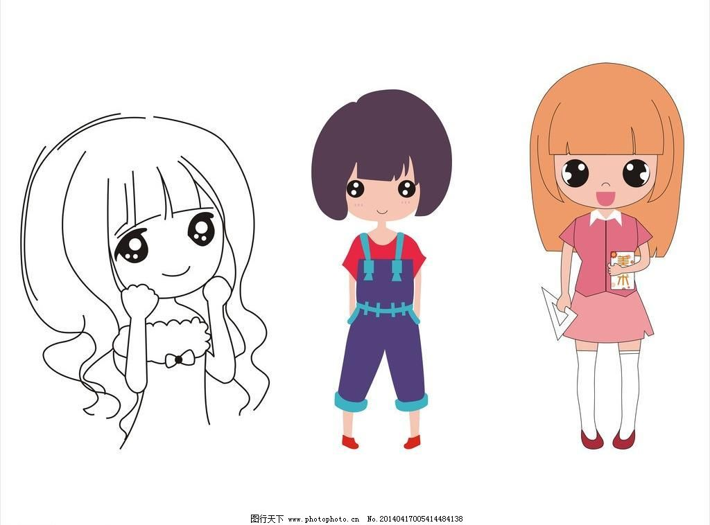动漫小女孩图片免费下载 cdr 动漫 卡通 可爱的 美少女 其他人物 矢量
