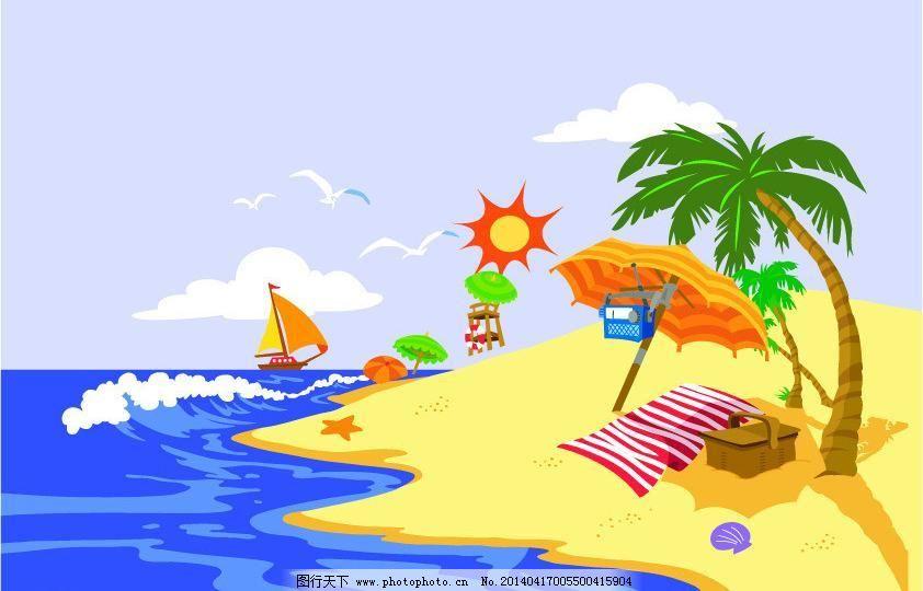 风景画 白云 背景底纹 大海 帆船 海边 海鸥 卡通画 蓝天 风景画矢量