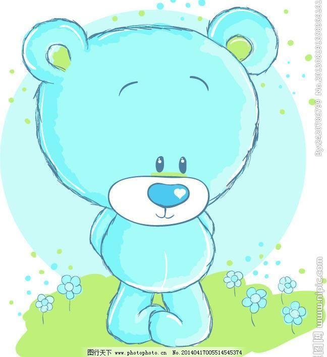 可爱小熊卡通矢量受气