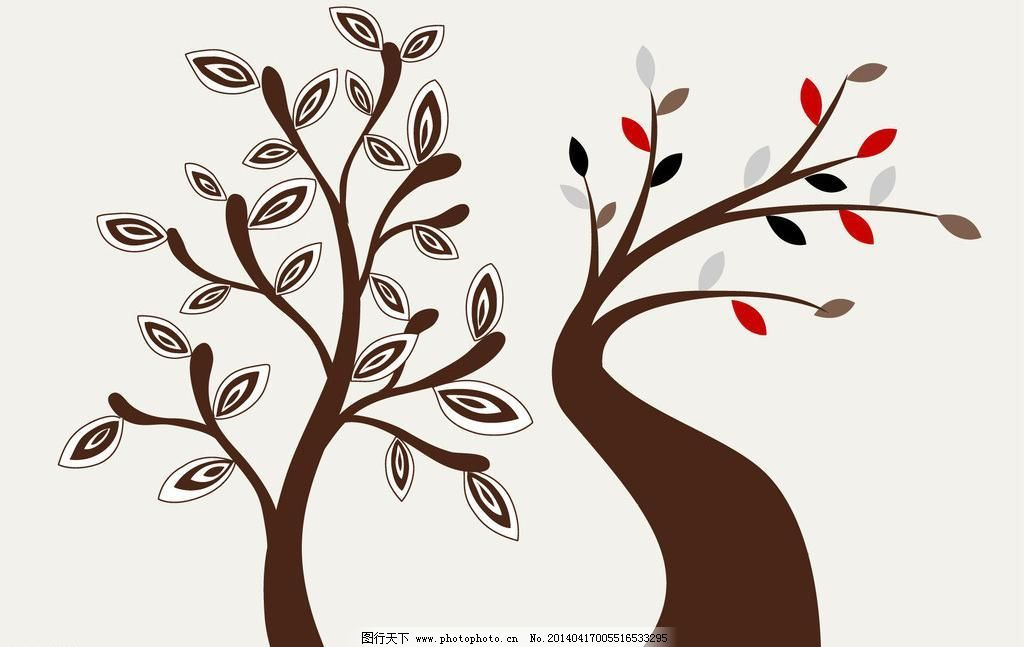 ai 壁画 插画 窗花 大树 风景插画 简约图案      梦幻树叶 其他矢量