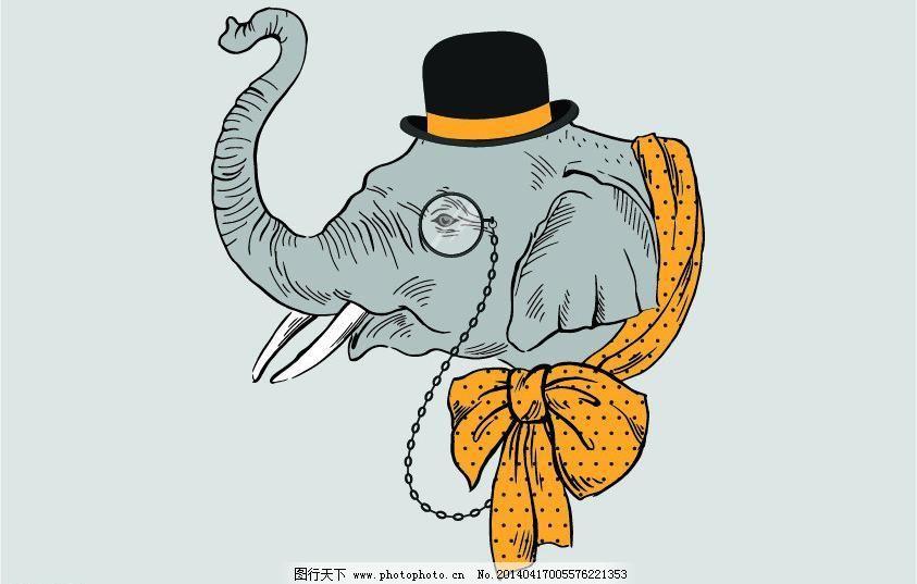 ai 背景底纹 大象 蝴蝶结 卡通插画 卡通动物 卡通画 帽子 其他矢量