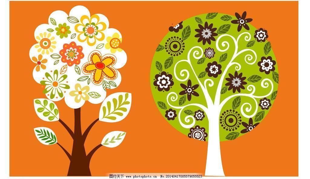 叶子图案 清新色彩 植物 风景插画 梦幻树叶 无框画 壁画 客厅 窗花