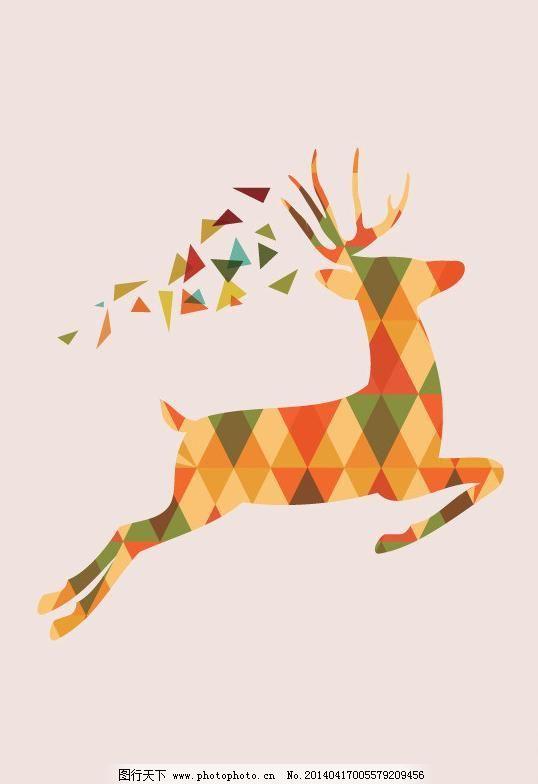 ai 背景底纹 奔跑 儿童插画 几何图形 卡通动物 卡通画 麋鹿 其他矢量