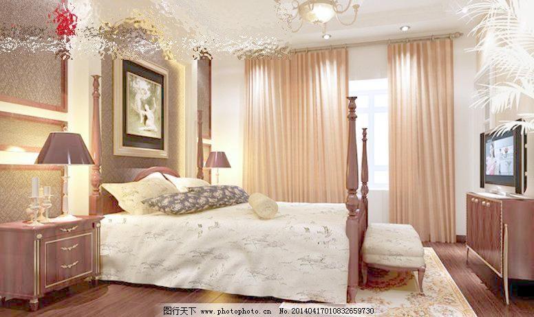 3d设计模型 max 床头背景 简欧 欧式 欧式卧室效果图 室内模型