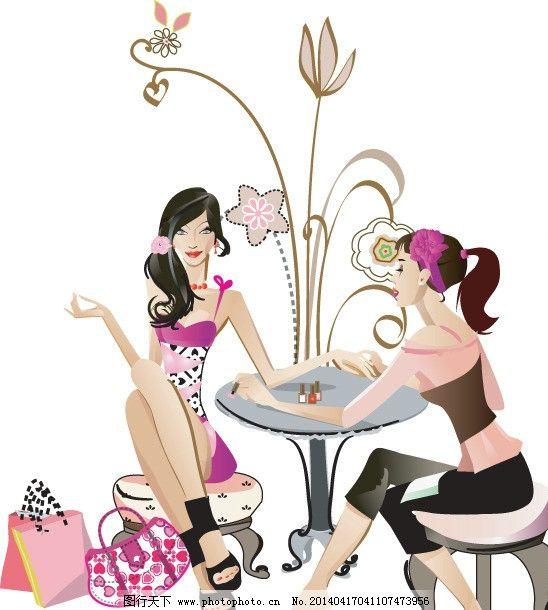 手绘少女 手绘服装设计 购物 潮流 性感 时装手稿 女孩 女人