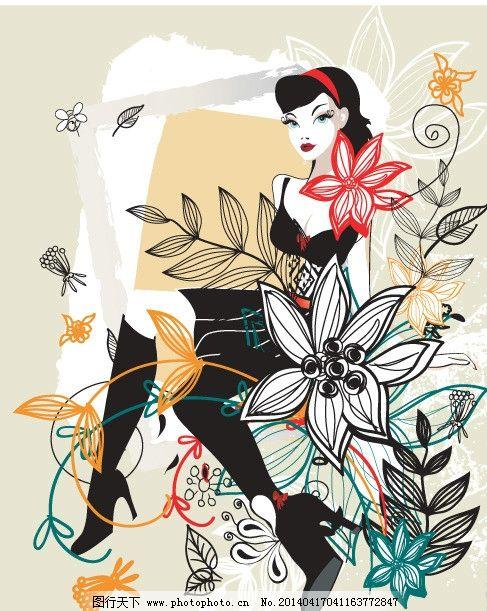手绘少女 手绘服装设计 花卉 潮流 性感 时装手稿 女孩 女人
