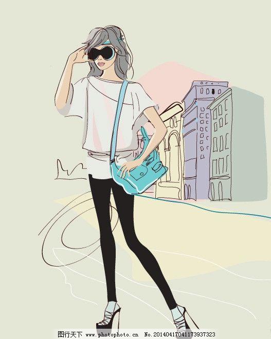 手绘少女 手绘服装设计 购物 潮流 设计 性感 时装手稿 女孩 女人