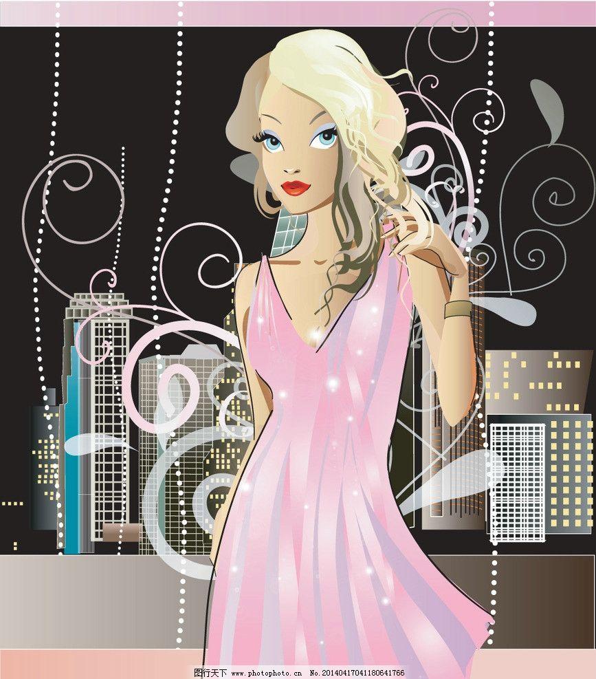 裙子 美少女 性感美女 女子 姑娘 手绘 小女孩 服装设计 素描 美丽