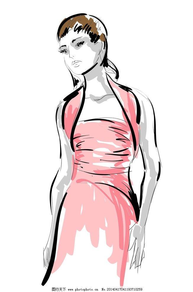手绘少女 手绘服装设计 潮流 设计 性感 时装手稿 女孩 女人 时尚