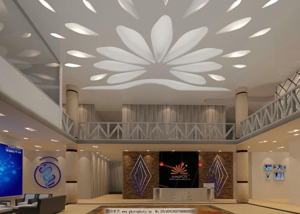 室内设计 3d 室内        大厅效果图 花纹天花灯吊顶 环境设计 设计