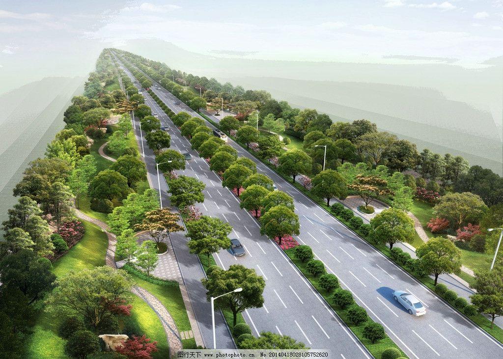道路绿化效果图 景观 园林 (1024x731)-道路绿化鸟瞰 道路 绿化图片