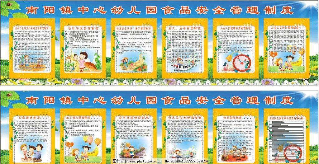 幼儿园 幼儿园制度 食品安全管理制度 学校制度牌 南阳中心幼儿园