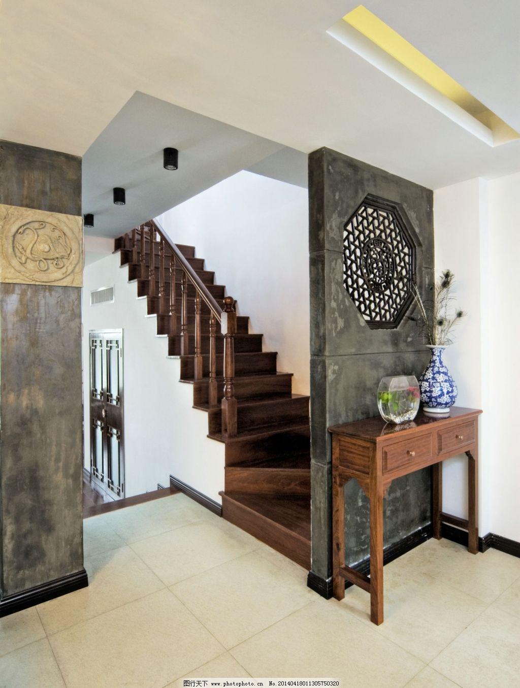 楼梯装修设计效果图 楼梯装修设计效果图免费下载 隔断 石头 中国风