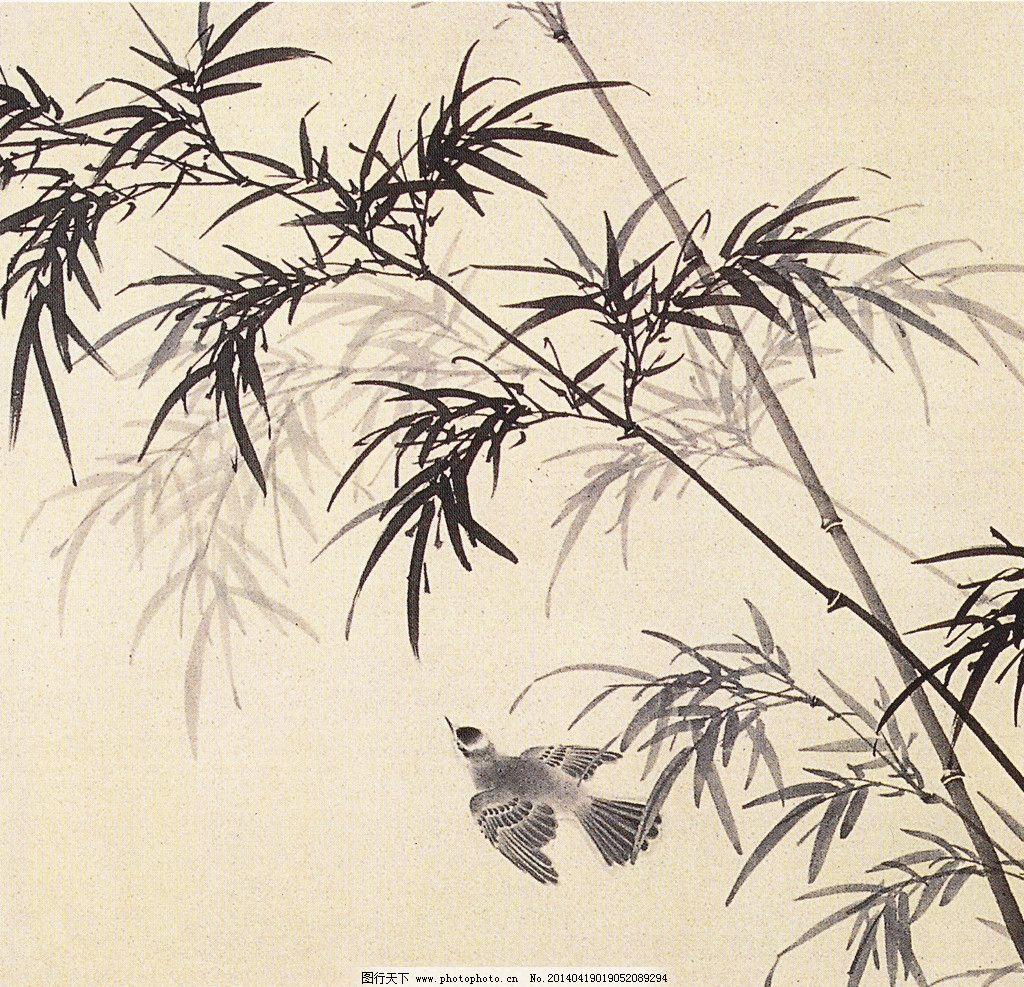 虚心到白头 国画 中国画 水墨 四君子 竹子 白头翁 绘画书法 文化艺术