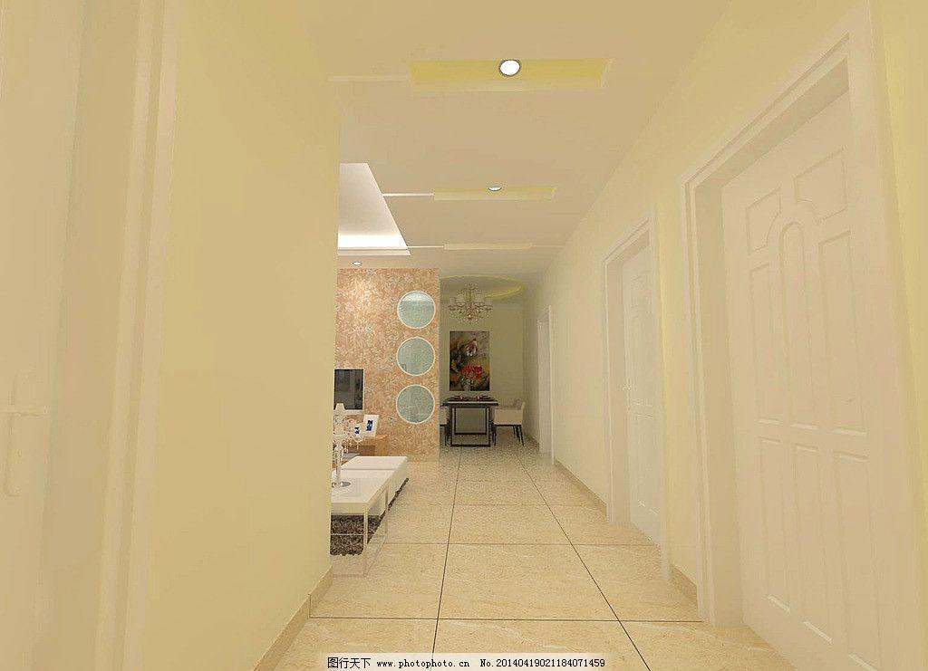 走廊效果图 餐桌 电视墙        隔断 地砖 桌花 地毯 吊顶 灯带 3d