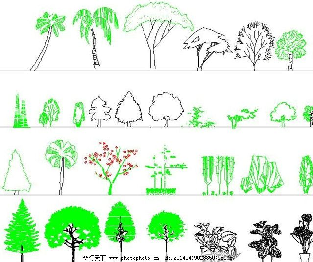 cad 植物素材 平面素材 花卉 灌木 植物立面 树木 景观 园林 施工图纸