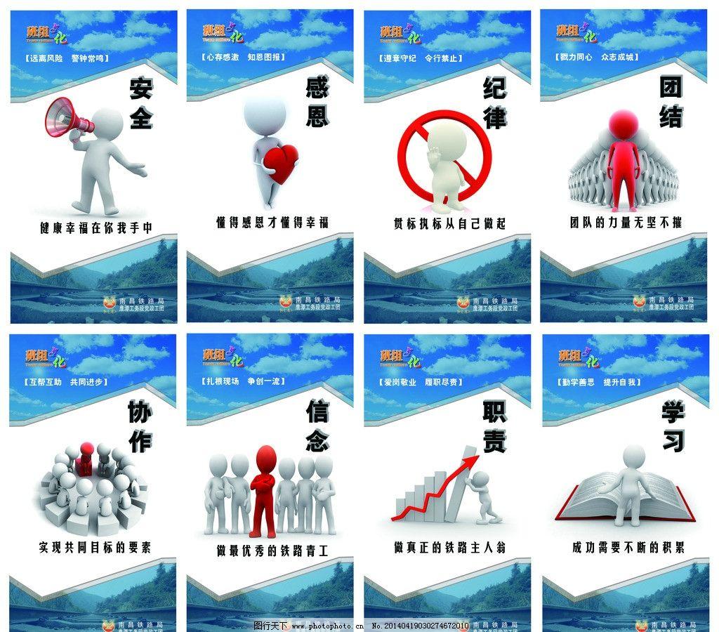 铁路班组文化招贴画 铁路 班组 文化 宣传 3d小人 展板模板 广告设计