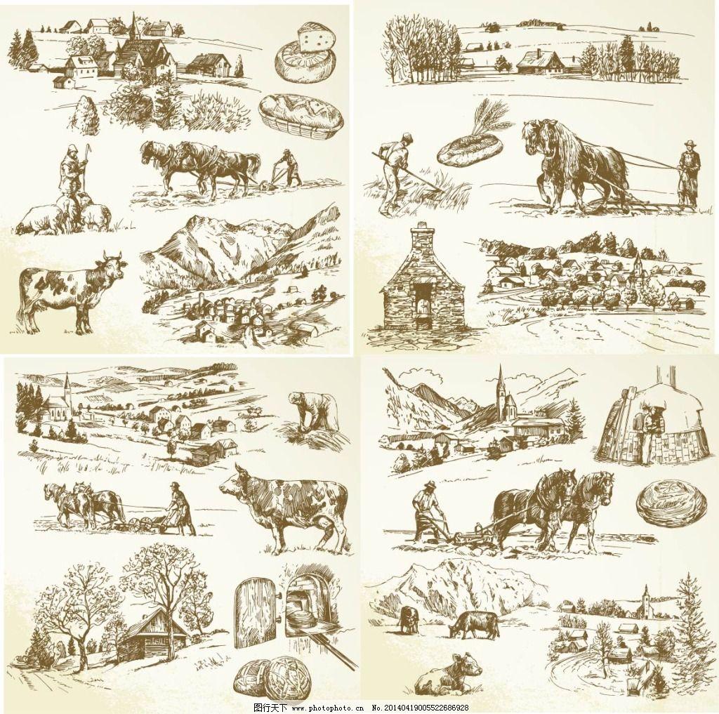 大树 动物 牛 农场 手绘 素描 手绘 素描 农场 大树 动物 牛 矢量图