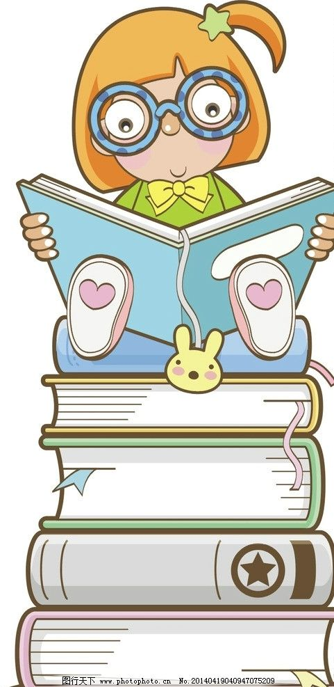 孩子读书 女孩子 书本